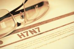 H7N7 - Diagnostic imprimé stéthoscope réglé d'argent de médecine de mensonges de concept illustration 3D Photos stock