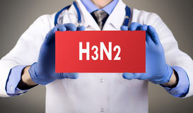 H3n2 flu. Doctor`s hands in blue gloves shows the word h3n2 flu. Medical concept Stock Images