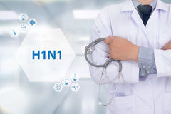 H1N1. Medicine doctor working with computer interface as medical Royalty Free Stock Image