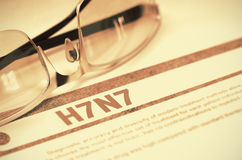 H7N7 - Printed Diagnosis. Medicine Concept. 3D Illustration. Stock Photos