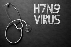 H7N9 som är handskriven på den svart tavlan illustration 3d Royaltyfri Bild