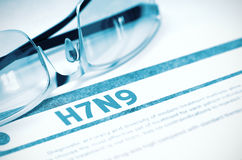 H7N9 - Utskrivaven diagnos stetoskop för pengar för begreppsliesmedicin set illustration 3d Royaltyfria Bilder