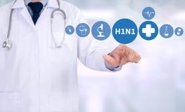 H1N1, wirusa grypy pozytyw H1N1, H1N1 raport medyczny Fotografia Royalty Free