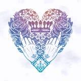 H?nde mit eleganten rosafarbenen Blumen innerhalb des Herzens stock abbildung