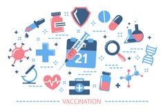 H?nde und Spritze Idee der Einspritzung für Krankheitsverhinderung stock abbildung