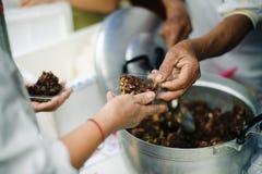 H?nderna av det rikt ger mat till h?nderna av det fattigt: Sociala problem av armod som hj?lps, genom att mata: Begreppsproblem a fotografering för bildbyråer