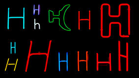 H Neon Letters Stock Image