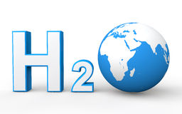 H2O with Earth globe Stock Images