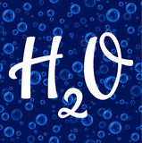 H2O hand drawn lettering water symbol on seamless bubbles pattern Stock Photos