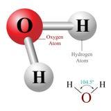 H2O, illustrazione della molecola di acqua Fotografie Stock Libere da Diritti