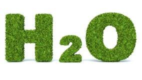 H2O - riegue el símbolo químico - en la hierba 3d hecha Fotografía de archivo libre de regalías