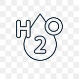 H2o-vektorsymbol som isoleras på genomskinlig bakgrund, linjär H2o t vektor illustrationer