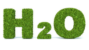 H2O - water chemical symbol - in grass 3d made Royalty Free Stock Photography