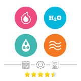 H2O Water drop icons. Tear or Oil symbols. Stock Photo