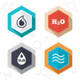 H2O Water drop icons. Tear or Oil symbols Stock Photography