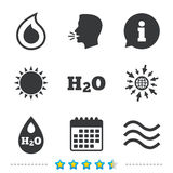 H2O Water drop icons. Tear or Oil symbols. Royalty Free Stock Image