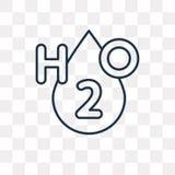 H2o wektorowa ikona odizolowywająca na przejrzystym tle, liniowy H2o t ilustracja wektor