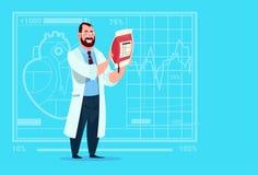 Hôpital de distributeur de travailleur de cliniques médicales de donation de docteur Holding Blood Bag illustration stock
