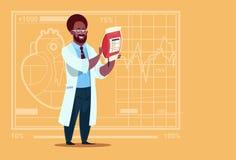 Hôpital de distributeur de travailleur de cliniques médicales de donation de docteur Holding Blood Bag d'afro-américain illustration libre de droits