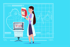 Hôpital de distributeur femelle de travailleur de cliniques médicales de donation de docteur Holding Blood Bag illustration de vecteur
