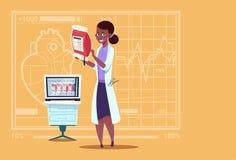 Hôpital de distributeur femelle de travailleur de cliniques médicales de donation de docteur Holding Blood Bag d'Afro-américain illustration de vecteur