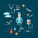 Hôpital de premiers secours de médecine de docteur illustration de vecteur