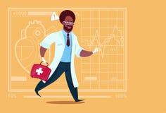 Hôpital de travailleur de cliniques médicales de premiers secours de boîte de docteur Run With Medicine de secours d'afro-américa Photos libres de droits