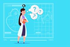 Hôpital femelle de travailleur de cliniques de docteur Confused Thinking Medical illustration de vecteur