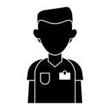 Hôpital masculin de chirurgien de costume d'infirmière de silhouette Images libres de droits