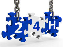24h On Puzzle Shows All Day 24hr Service. 24h On Puzzle Showing All Day 24hr Service Stock Image