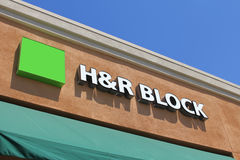 H&R Block. Cathedral City, California, USA - April 10, 2011: The front facade of an H&R Block franchise. H&R Block is one of the world's largest tax service Royalty Free Stock Photos