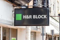 Hartford City - Circa August 2018: H&R Block Retail Tax Preparation Location IV. H&R Block Retail Tax Preparation Location. H&R Block offers military spouse stock photography