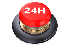 24h Red button. Isolated on white background Royalty Free Stock Photography