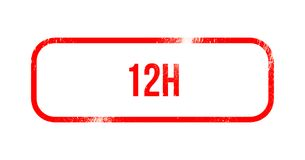 12h - red grunge rubber, stamp.  Stock Image