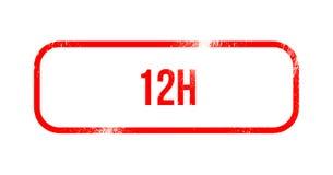 12h - red grunge rubber, stamp.  stock illustration