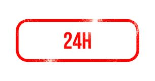 24h - red grunge rubber, stamp.  Royalty Free Stock Images
