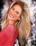 H?rlig blond flicka med l?ngt h?r royaltyfri illustrationer