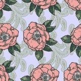 H?rlig bohemisk blom- paisley s?ml?s prydnad Barock tatueringstilmodell med rosa blommor royaltyfri illustrationer