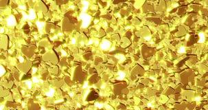H?rlig guld- hj?rtabakgrund framf?rande 3d vektor illustrationer