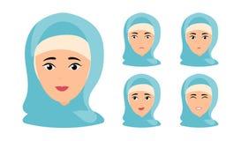 H?rlig kvinnast?ende med olika ansiktsuttryck vektor illustrationer