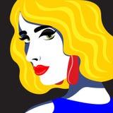 H?rlig och ljus flicka i stilen av huvudet f?r popkonst som tillbaka kastas Illustration i retro stil f?r popkonst vektor illustrationer