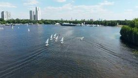 h?rlig panorama- sikt Små segelbåtar på floden, konkurrens regatta Springa segla sportdomstolar utbildning arkivfilmer