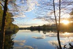 H?rlig solnedg?ng p? skogsj?n oklarheter reflekterat vatten arkivfoto