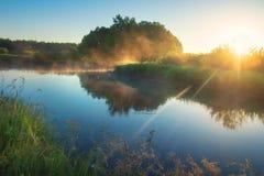 h?rlig sommar f?r bildnaturflod Morgonnaturlandskap med den ljusa solen Landskapsoluppgång över floden h?rlig lugna naturbakgrund royaltyfri bild