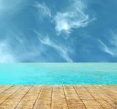 H?rlig tropisk paradisstrand med tr?golvet royaltyfri foto