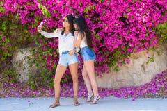 H?rliga lyckliga unga kvinnor g?r selfie p? f?rgrik naturlig bakgrund av ljusa rosa blommor fotografering för bildbyråer
