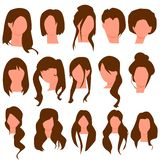 H?rliga samlingar f?r kvinnah?rstil vektor vektor illustrationer