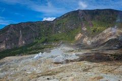 H?rligt landskap av monteringen Papandayan Det Papandayan berget ?r ett av det favorit- st?llet som fotvandrar p? Garut royaltyfria bilder