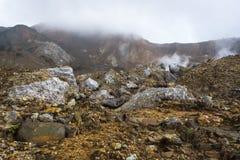 H?rligt landskap av monteringen Papandayan Det Papandayan berget ?r ett av det favorit- st?llet som fotvandrar p? Garut royaltyfria foton