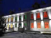Hugo Scheu manor house in Silute town, Lithuania Stock Photography